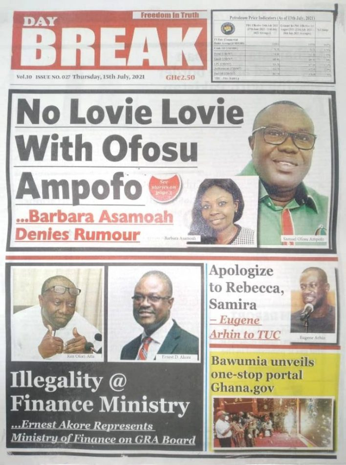 Today's Newspaper Headlines Of Thursday July 15, 2021 9