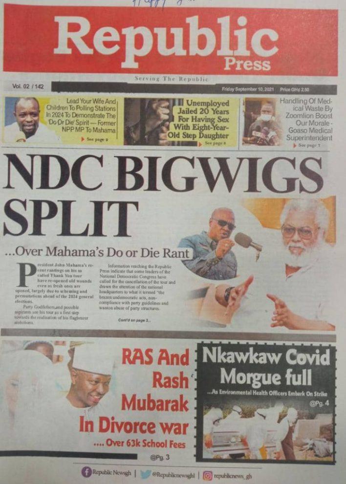 Newspaper Headline Of Friday, September 10, 2021 8