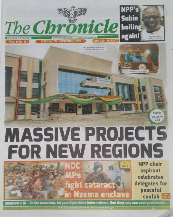 Newspaper Headline Of Tuesday, September 7, 2021 7