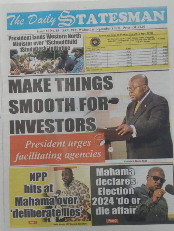 Newspaper Headline Of Wednesday, September 8, 2021 1