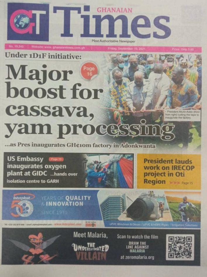 Newspaper Headline Of Friday, September 10, 2021 5