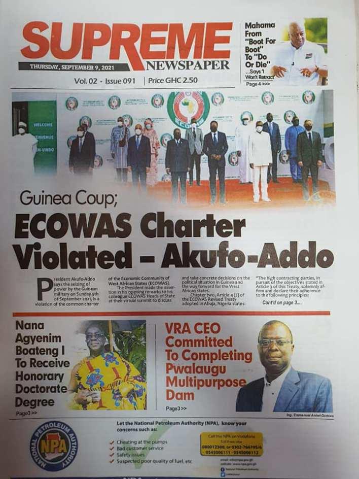 Newspaper Headline Of Thursday, September 9, 2021 5