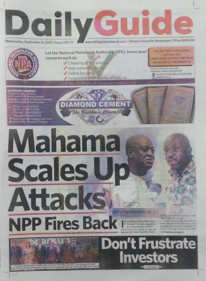 Newspaper Headline Of Wednesday, September 8, 2021 6