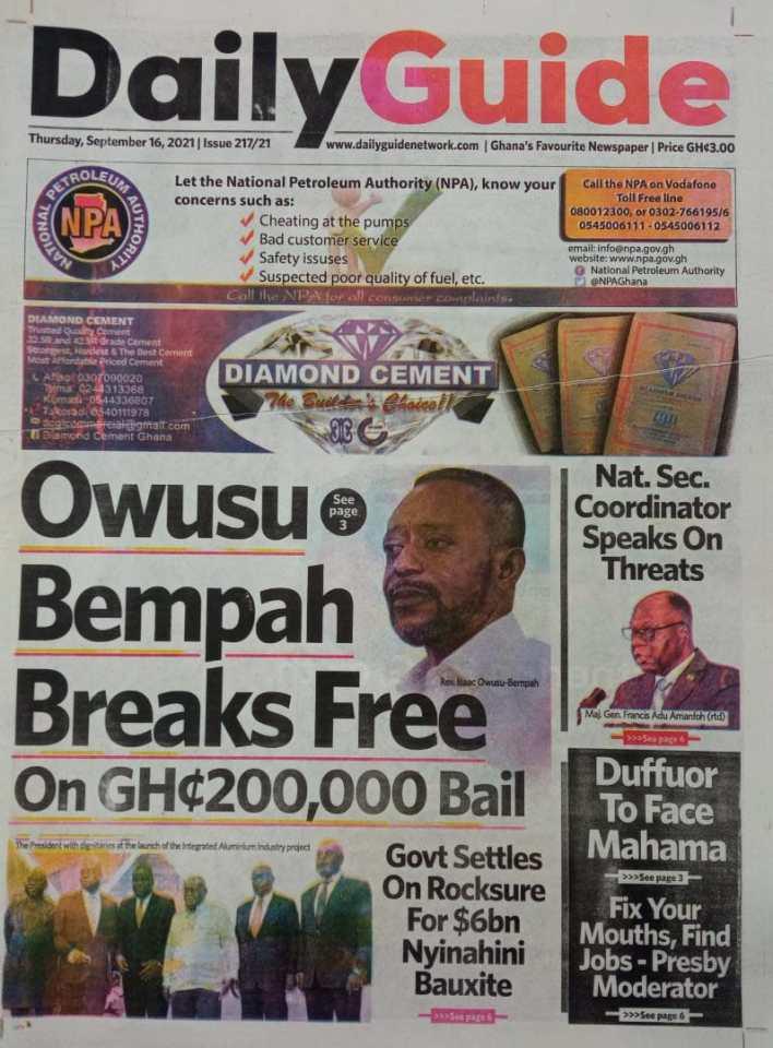 Newspaper Headline Of Thursday, September 16, 2021 8