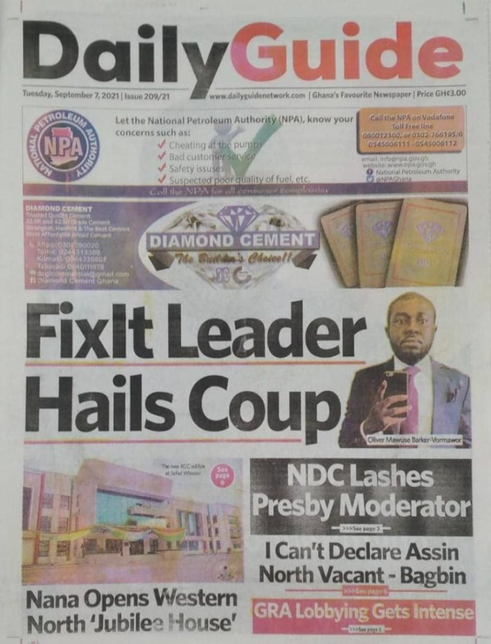 Newspaper Headline Of Tuesday, September 7, 2021 6