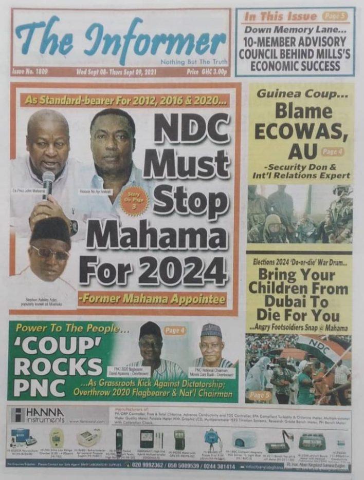 Newspaper Headline Of Wednesday, September 8, 2021 7