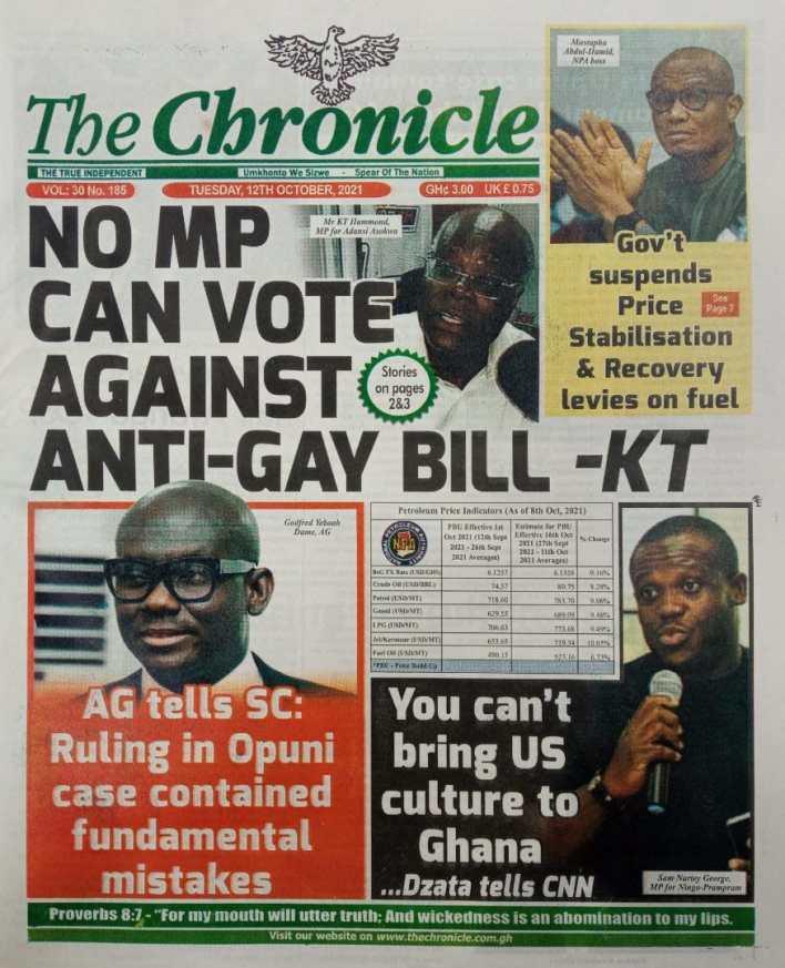 Newspaper Headline Of Tuesday, October 12, 2021 6