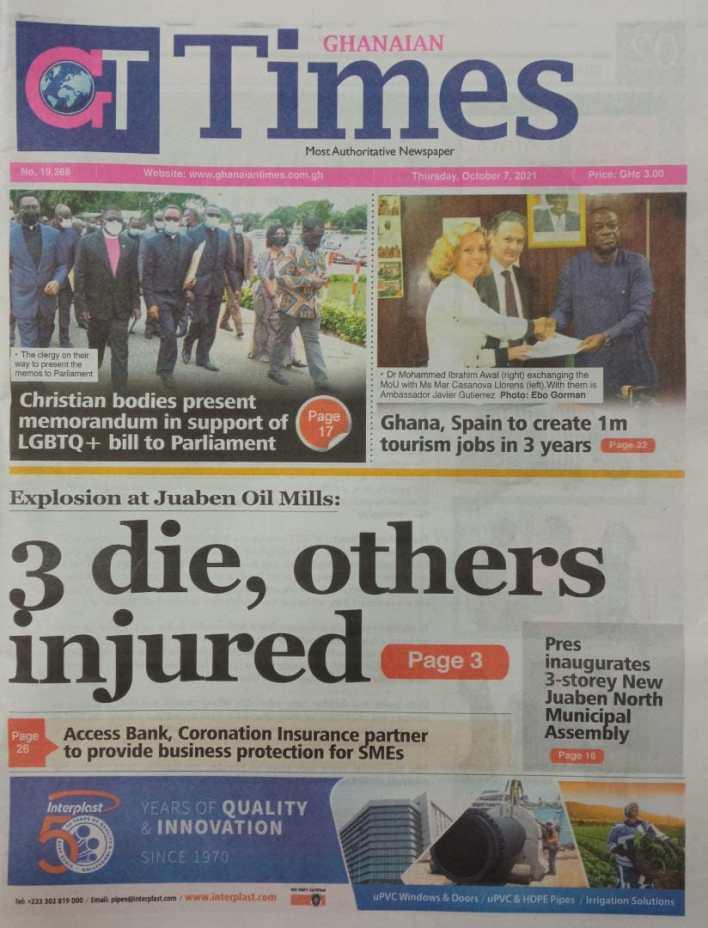 Newspaper Headline Of Thursday, October 7, 2021 2
