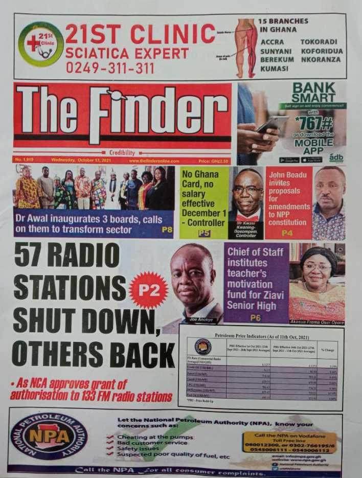 Newspaper Headline Of Wednesday, October 13, 2021 1