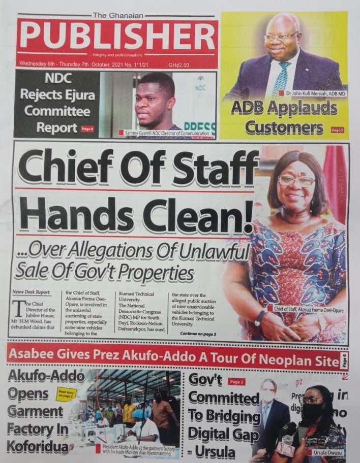 Newspaper Headline Of Wednesday, October 6, 2021 1