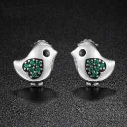 Green Little Bird Heart Earrings