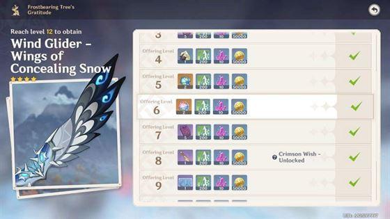 Награды из ледяного дерева (изображение взято из Genshin Impact)