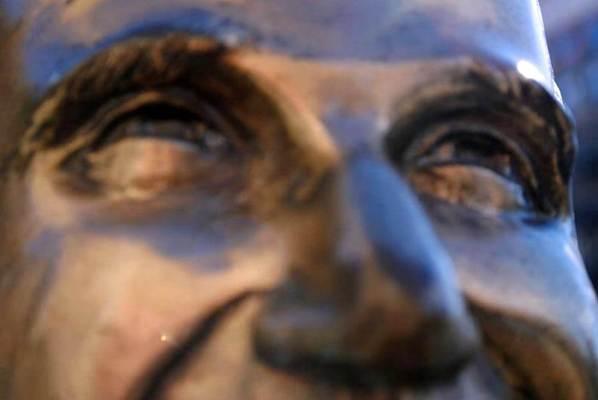 The majestic gaze of the Bronze Fonz in Milwaukee, Wisconsin