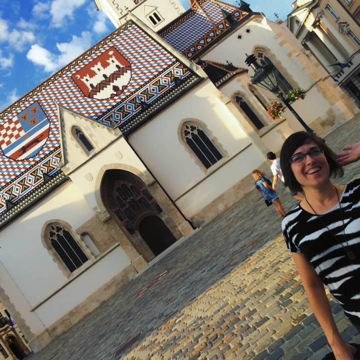 Posing in front of St. Mark's church in Zagreb, Croatia