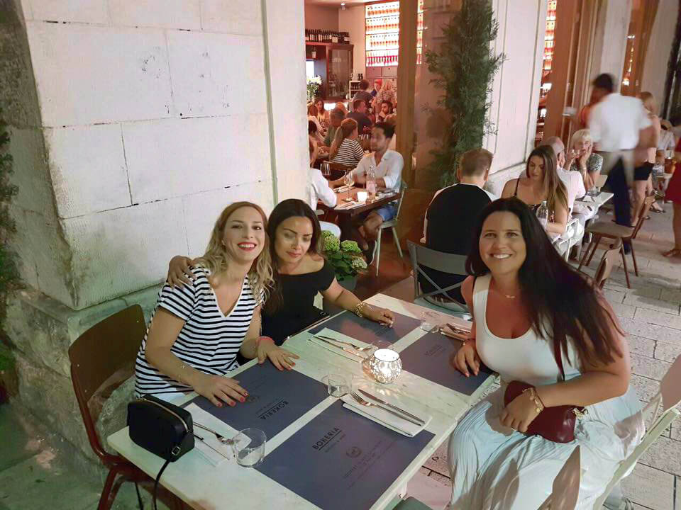 Having dinner with friends in Split, Croatia