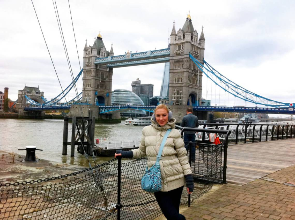 Posing in front of the London Bridge