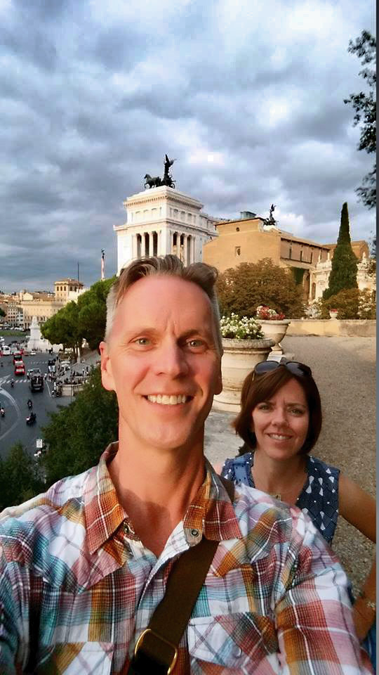 In front of the Vittorio Emmanuel monument in Rome, Italy