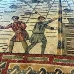 Mosaic depicting fisherman in Villa Romana del Casale in Sicily