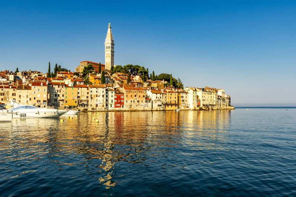 The town of Rovinj, Croatia from the sea