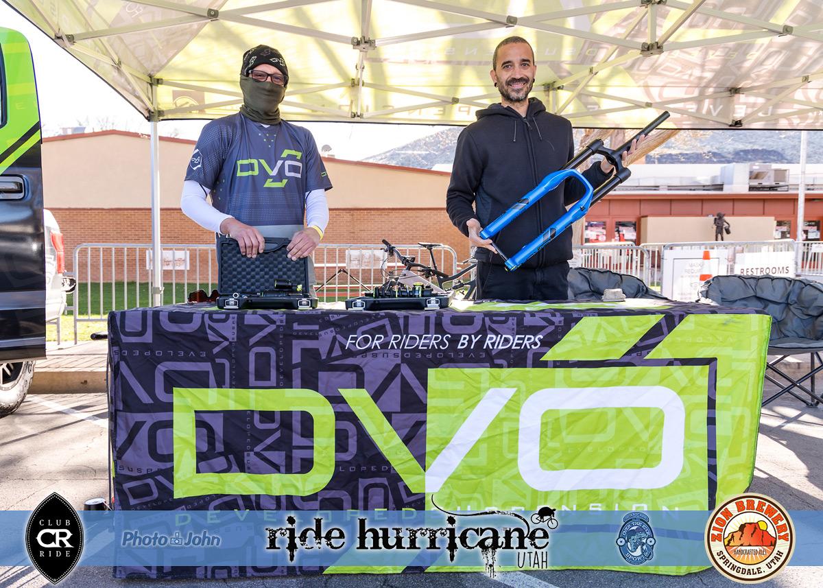 Two men in the DVO mountain bike suspension festival booth