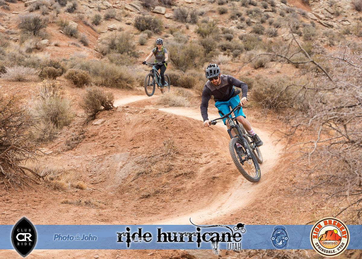 Two mountain bikers riding a flowy Southern Utah desert trail.