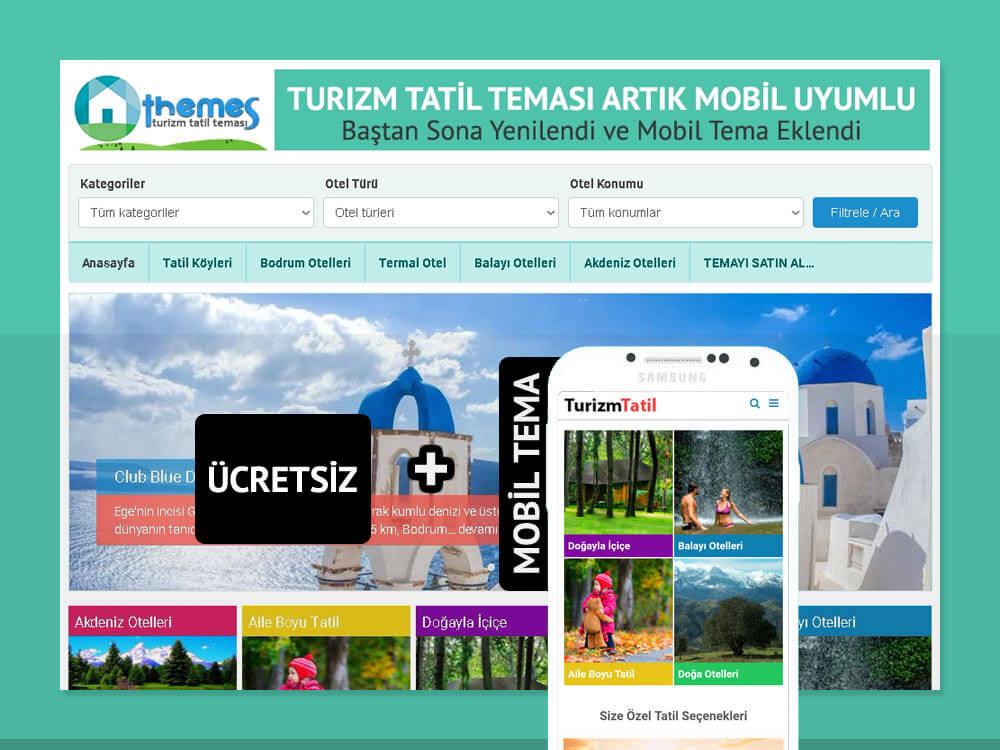 Wordpress Turizm Tatil Teması + Mobil Tema    0,50 TL