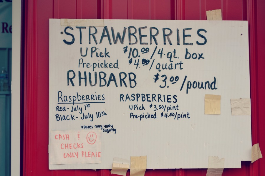Heiders Berry Farm Sign Prices
