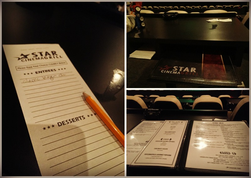 Star Cinema Grill Movie Theater Menu