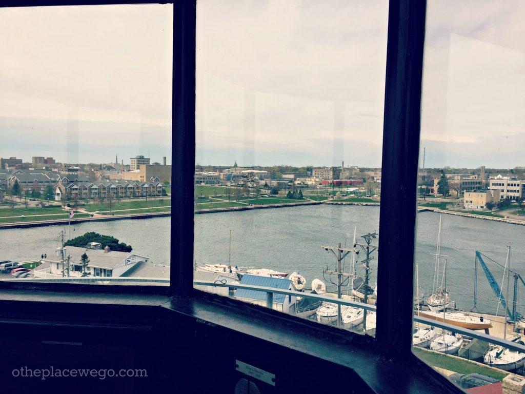 Kenosha Southport Lighthouse - View of Downtown