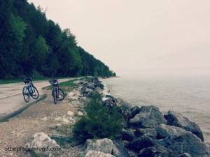 Biking Mackinac Island - Bikes on Side of Road