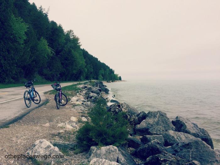 Biking Mackinac Island - Bikes on Side of Road