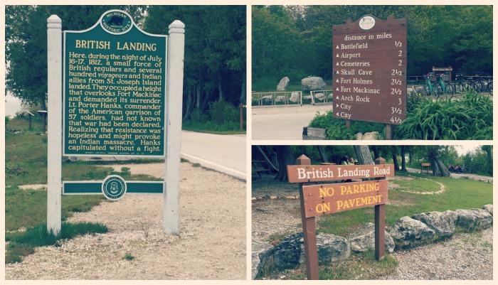 Biking Mackinac Island - British Landing Signs