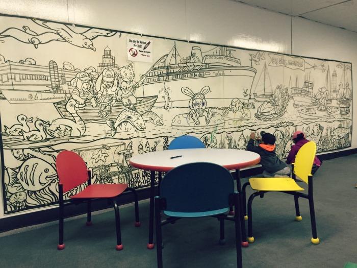 SS Badger Carferry - KidsPort Kids Room Coloring Mural