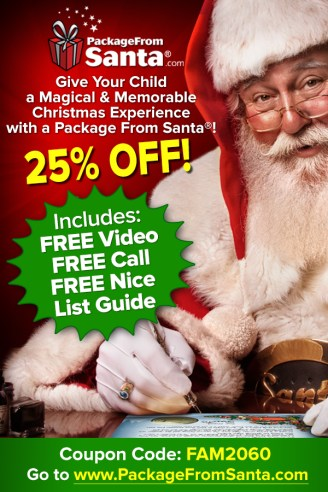 Give your kids a Christmas EXPERIENCE they will never forget! BBB A+ rated PackageFromSanta.com delivers a personalized Santa LETTER, VIDEO (starring your child), PHONE CALL and printable NICE LIST GUIDE w/ every package! SAVE 25% w/ FAM2060 coupon code at check out! #packagefromsanta #kidsgiftideas #christmastradition #santaletters