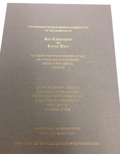 Kim Kanye Invitation