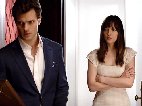 Jamie Dornan as Christian Grey and Dakota Johnson as Anastasia Fifty Shade of Grey OTHER SIDE OF THE FAME
