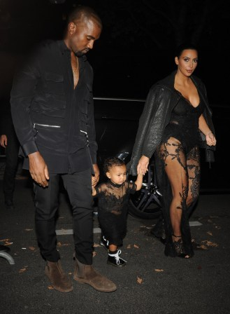 Kim Kardashian, Kanye West and North West out for dinner in Paris