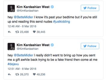Kim Kardashian Fires Back At Bette Midler Regarding Nude Selfies