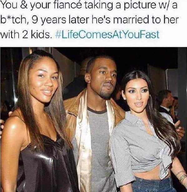 Meme History Kanye and His Fiance Meet Kim Kardashian