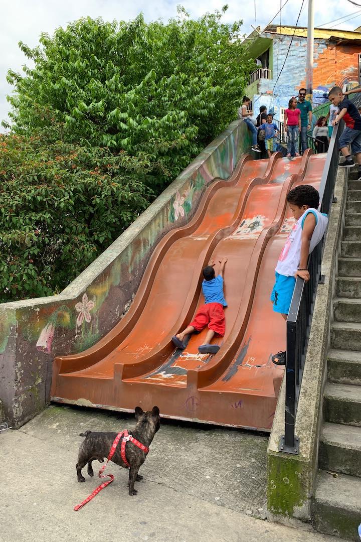 Kids slide in Comuna 13 Medellin Colombia