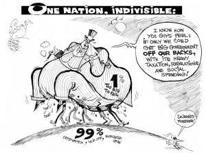 Off Our Backs, an OtherWords cartoon by Khalil Bendib