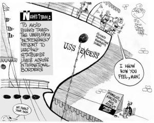 USS Excess, an OtherWords op-ed by Khalil Bendib.