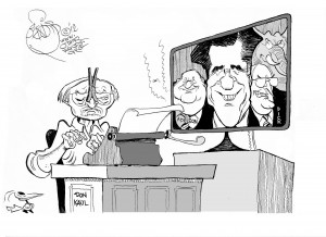 """Donald Kaul Signs Off,"" an OtherWords cartoon by Khalil Bendib."