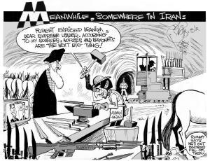 The Horses and Bayonets Strategy, an OtherWords cartoon by Khalil Bendib