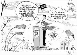 Sandy Trumps Romney's Climate Joke, an OtherWords cartoon by Khalil Bendib