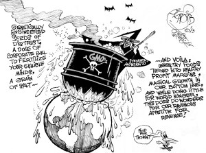 Corporate Witchcraft, an OtherWords cartoon by Khalil Bendib