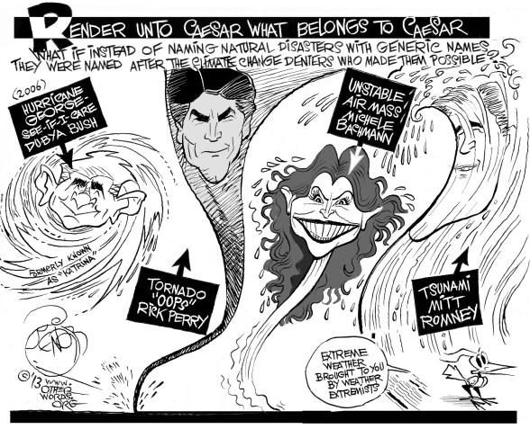 Weather Extremists, an OtherWords cartoon by Khalil Bendib