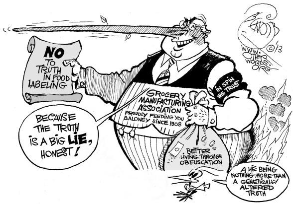 Genetically Engineered Truth, an OtherWords cartoon by Khalil Bendib