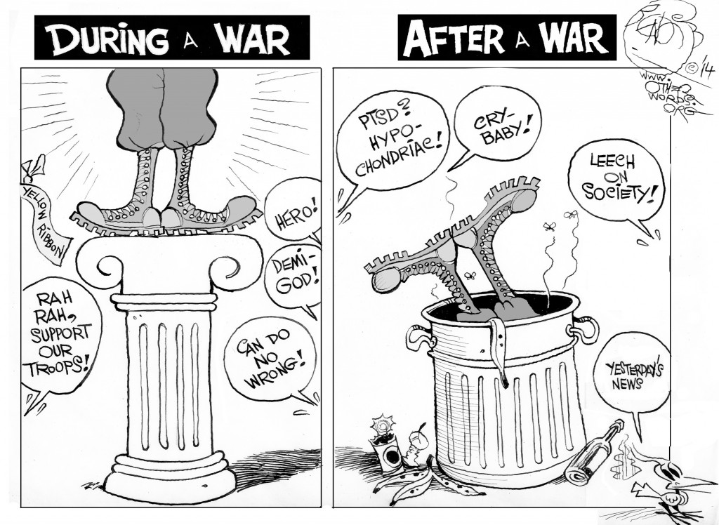 Before and After a War, an OtherWords cartoon by Khalil Bendib