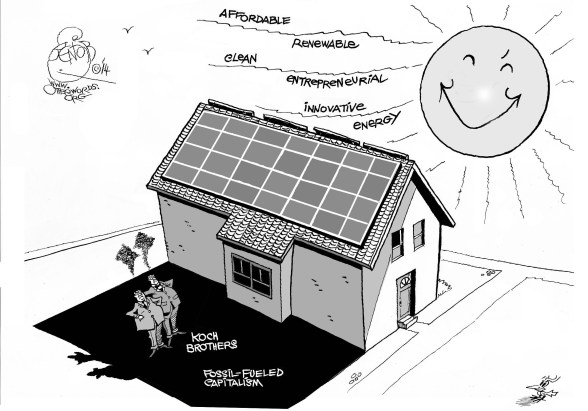 Letting the Sun Shine on the Koch Brothers, an OtherWords cartoon by Khalil Bendib